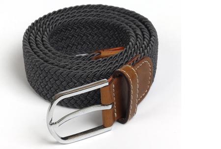 Elastische geweven riem | Dé stretch riem die altijd perfect zit! Donkergrijs