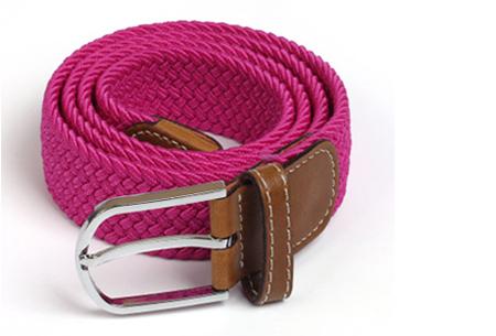Elastische geweven riem | Dé stretch riem die altijd perfect zit! Fuchsia