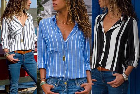 Striped blouse nu in de uitverkoop <br/>EUR 14.99 <br/> <a href='https://tc.tradetracker.net/?c=24550&m=1018105&a=230468&u=https%3A%2F%2Fwww.vouchervandaag.nl%2Fstriped-blouse-streepjes-strepen-print-dames' target='_blank'>bekijk product</a>