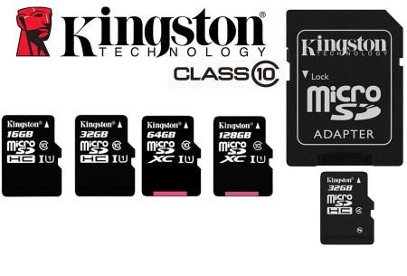 Kingston SD-kaart | Micro SD-kaart met adapter verkrijgbaar in 16GB, 32GB, 64GB en 128GB