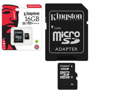 Kingston SD-kaart | Micro SD-kaart met adapter verkrijgbaar in 16GB, 32GB, 64GB en 128GB 16GB
