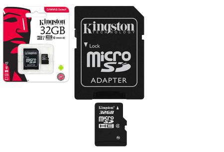 Kingston SD-kaart | Micro SD-kaart met adapter verkrijgbaar in 16GB, 32GB, 64GB en 128GB 32GB