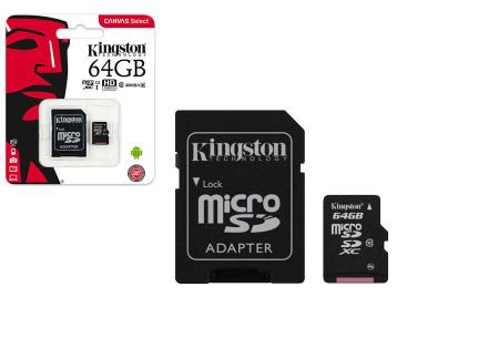 Kingston SD-kaart | Micro SD-kaart met adapter verkrijgbaar in 16GB, 32GB, 64GB en 128GB 64GB