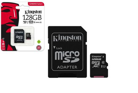 Kingston SD-kaart | Micro SD-kaart met adapter verkrijgbaar in 16GB, 32GB, 64GB en 128GB 128GB