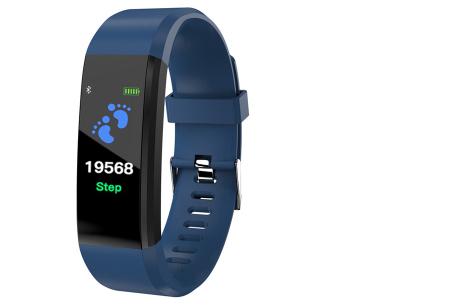 Bluetooth Activity tracker met o.a. bloeddruk- en hartslagmeter | Meet beweging & slaap blauw