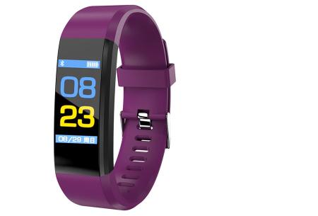 Bluetooth Activity tracker met o.a. bloeddruk- en hartslagmeter | Meet beweging & slaap paars
