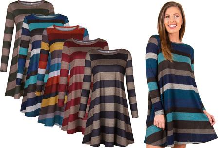 Comfy Stripe jurk | Jurken die je ook kunt dragen wanneer het kouder is buiten.