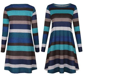 Comfy Stripe jurk | Jurken die je ook kunt dragen wanneer het kouder is buiten.  Blauw