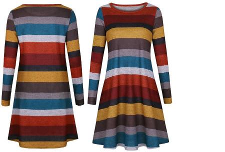 Comfy Stripe jurk | Jurken die je ook kunt dragen wanneer het kouder is buiten.  Geel