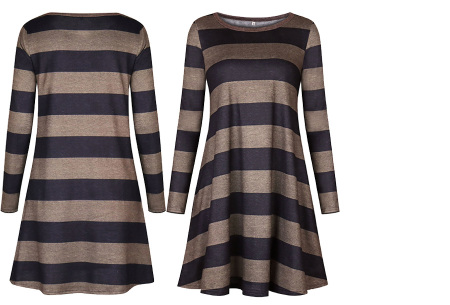 Comfy Stripe jurk | Jurken die je ook kunt dragen wanneer het kouder is buiten.  Zwart