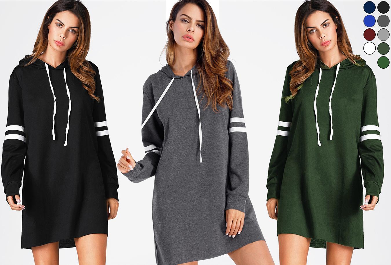 Hoodie | Comfortabele dames sweater jurk <br/>EUR 15.99 <br/> <a href='https://tc.tradetracker.net/?c=24550&m=1018105&a=230468&u=https%3A%2F%2Fwww.vouchervandaag.nl%2Fhoodie-dames-sweater-jurk-aanbieding' target='_blank'>bekijk product</a>