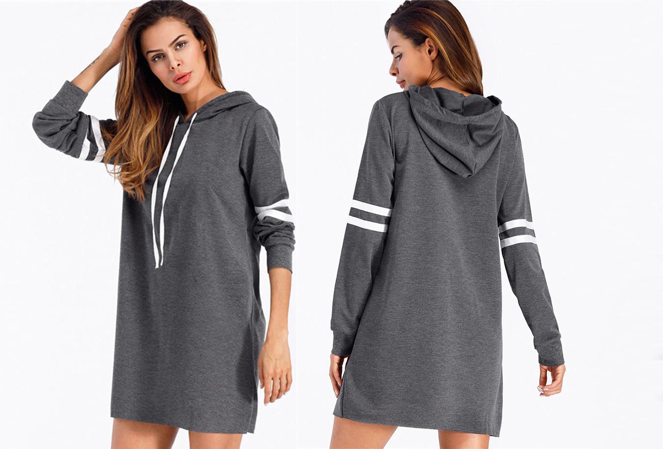 Baseball Sweater jurk Maat L - Donkergrijs