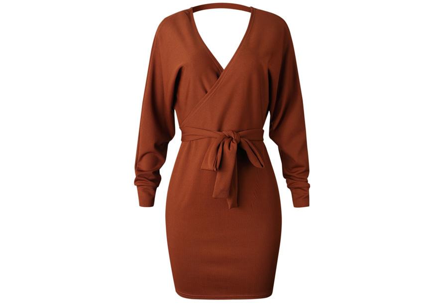 Classy dress Maat XL - Roest