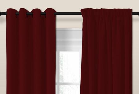 Luxe verduisterende gordijnen | Kant en Klaar, verkrijgbaar in verschillende maten en kleuren  Bordeaux rood