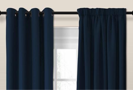 Verduisterende gordijnen van Larson Donker blauw - Ringen - 300 x 250 cm