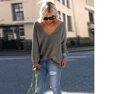 Comfy V-neck trui | Comfortable & trendy wannahave! Antraciet