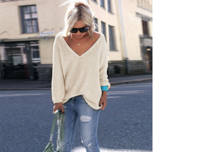 Comfy V-neck trui | Comfortable & trendy wannahave! Beige