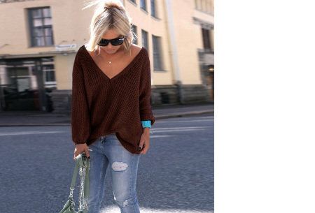 Comfy V-neck trui | Comfortable & trendy wannahave! Coffee