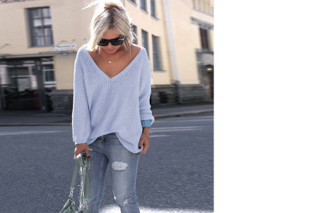 Comfy V-neck trui | Comfortable & trendy wannahave! Lichtblauw
