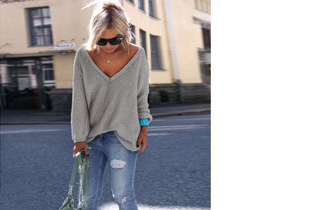 Comfy V-neck trui | Comfortable & trendy wannahave! Grijs