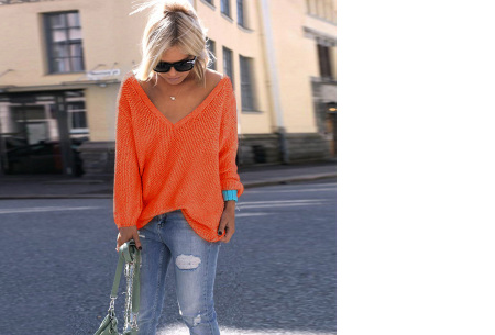 Comfy V-neck trui | Comfortable & trendy wannahave! Oranje