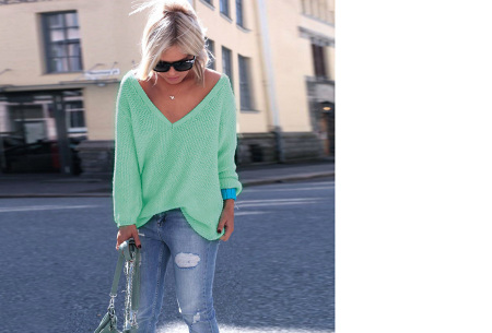 Comfy v-neck trui | Comfortable & trendy wannahave! Mintgroen