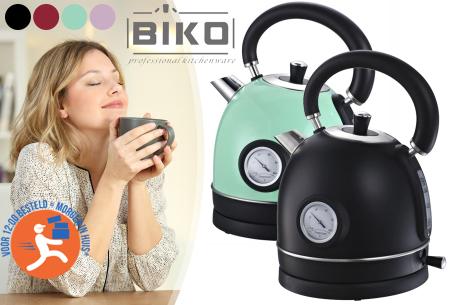 Biko retro waterkoker met temperatuurmeter