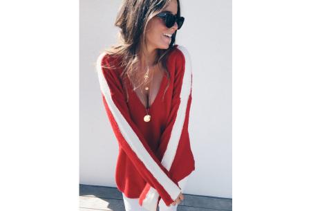 Loose v-neck trui | Voor een stijlvolle alledaagse look rood