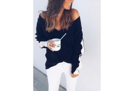 Loose v-neck trui | Voor een stijlvolle alledaagse look zwart