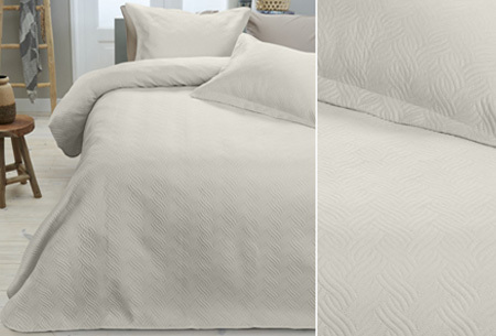 Luxe Wave bedsprei met bijpassende sierkussenslopen | Voor een chique uitstraling! crème