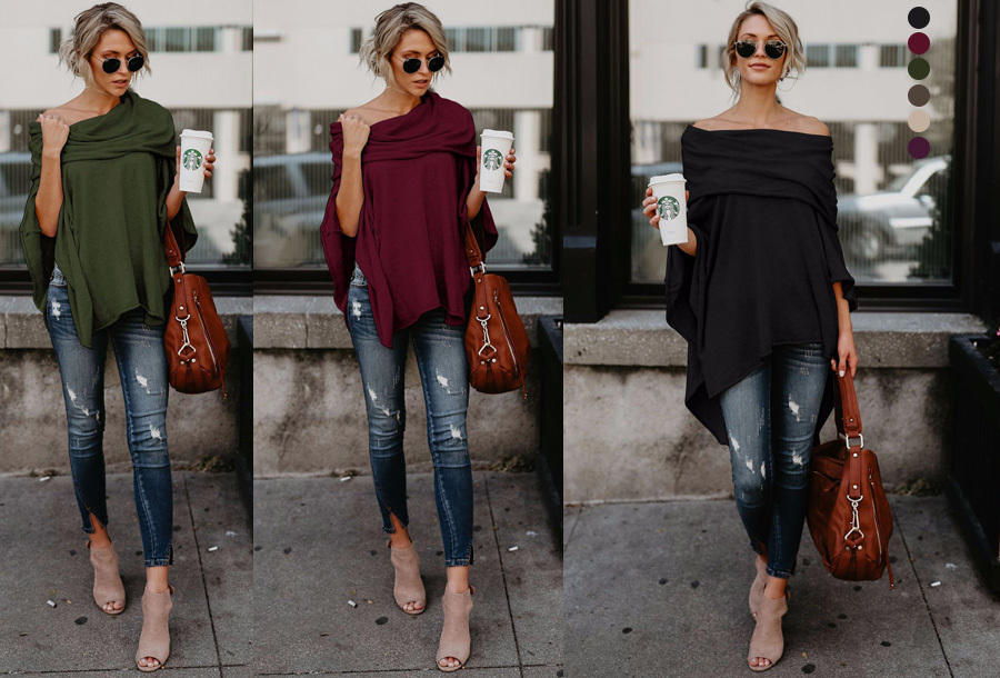 55% korting - Off shoulder poncho