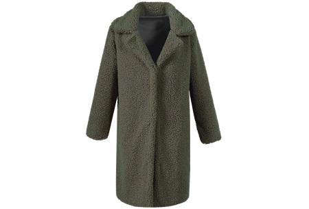 Lange teddy jas | De wannahave van dit moment Legergroen