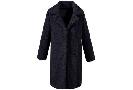 Lange teddy jas | De wannahave van dit moment Zwart
