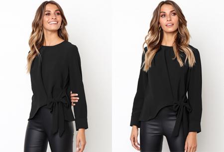 Blouse met strik | Stijlvolle & vrouwelijke musthave met strikdetail zwart