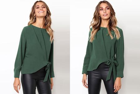 Blouse met strik | Stijlvolle & vrouwelijke musthave met strikdetail groen