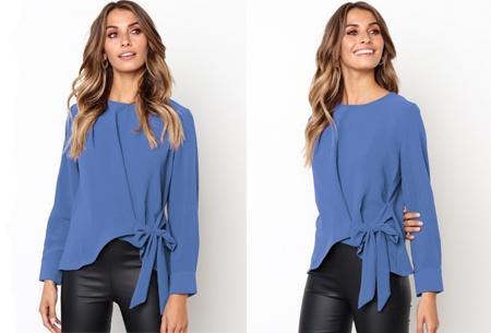 Blouse met strik | Stijlvolle & vrouwelijke musthave met strikdetail blauw
