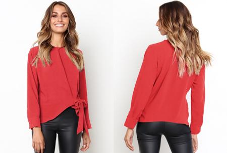 Blouse met strik | Stijlvolle & vrouwelijke musthave met strikdetail rood