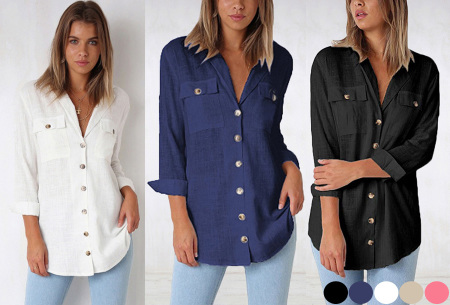 Button v-neck blouse - nu met mega korting