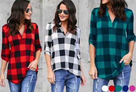 Geblokte blouse nu in de sale met hoge korting