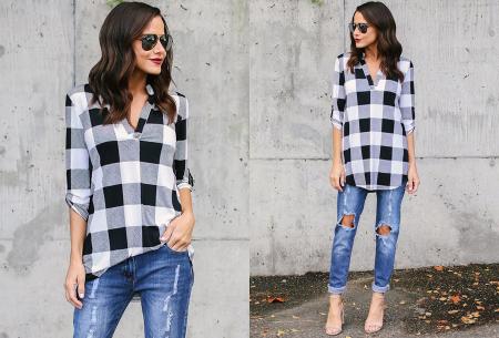 Geblokte blouse | Comfy blouse voor een hippe & stoere look! wit