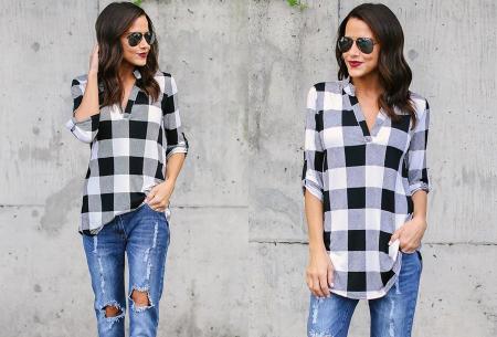 Geblokte blouse | Comfy blouse voor een hippe & stoere look!
