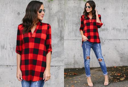 Geblokte blouse | Comfy blouse voor een hippe & stoere look! rood