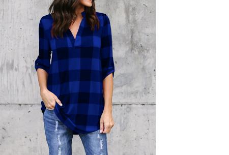 Geblokte blouse | Comfy blouse voor een hippe & stoere look! blauw