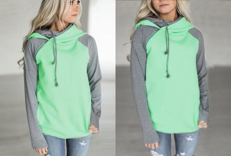 Pastel sweater | Trendy tweekleurige damestrui met heerlijk draagcomfort mintgroen