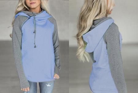 Pastel sweater | Trendy tweekleurige damestrui met heerlijk draagcomfort blauw