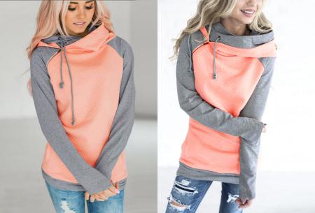Pastel sweater | Trendy tweekleurige damestrui met heerlijk draagcomfort roze