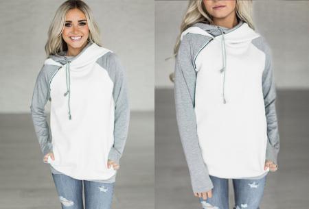Pastel sweater | Trendy tweekleurige damestrui met heerlijk draagcomfort wit