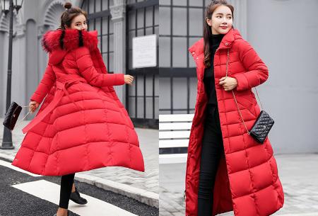 Lange dames winterjas | Houd jou heerlijk warm tijdens koude winterdagen rood