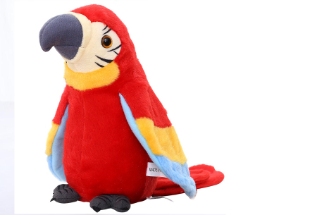 Pratende en bewegende eenhoorn of papegaai   Grappig knuffelbeest dat alles imiteert wat je zegt papegaai - rood