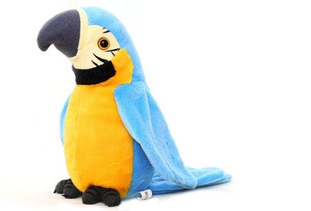 Pratende en bewegende eenhoorn of papegaai   Grappig knuffelbeest dat alles imiteert wat je zegt papegaai - blauw